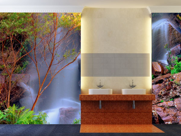 Wasserfall fototapete wasser fototapeten bei - Fototapete badezimmer ...